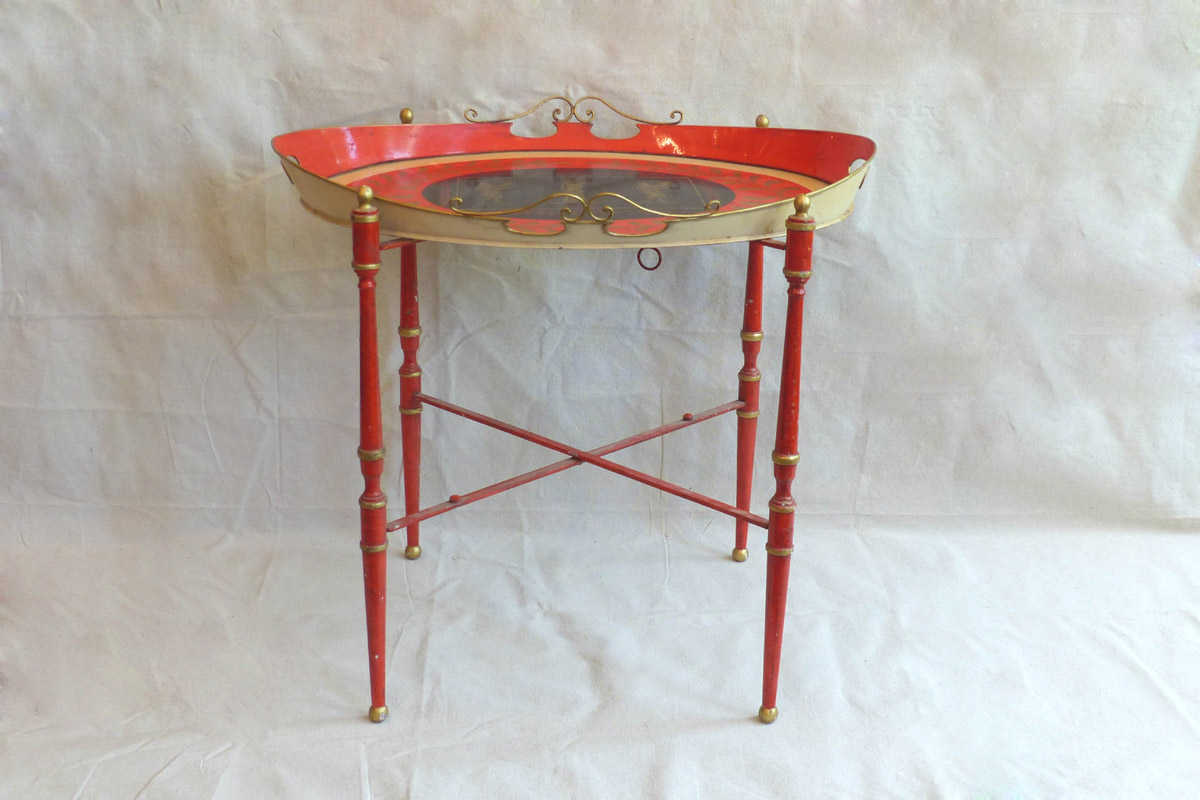 British Tole Painted Metal Tray Top Table