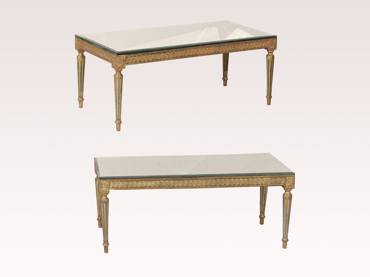 French Louis XVI Style Mirror Coffee Table
