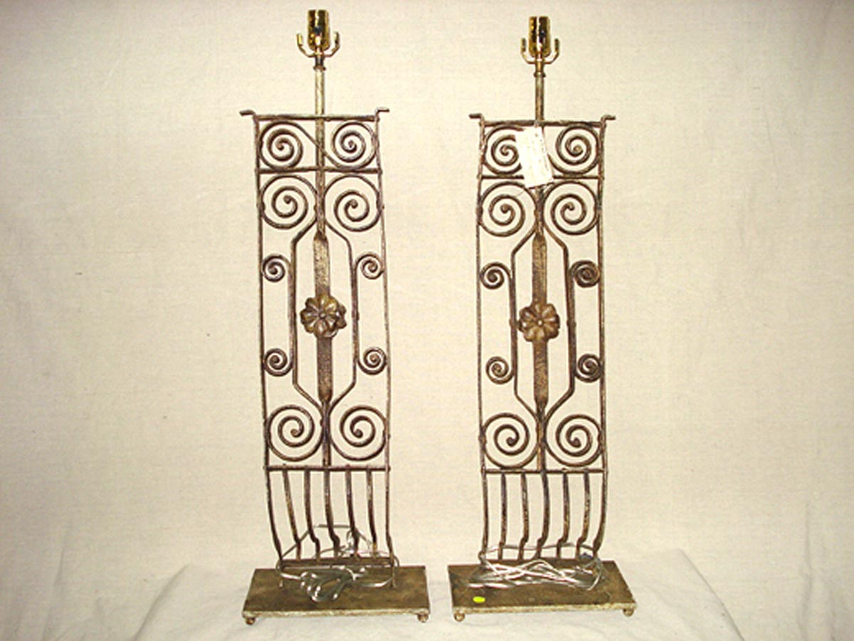 Pair Iron Table Lamps, 3+ ft Tall