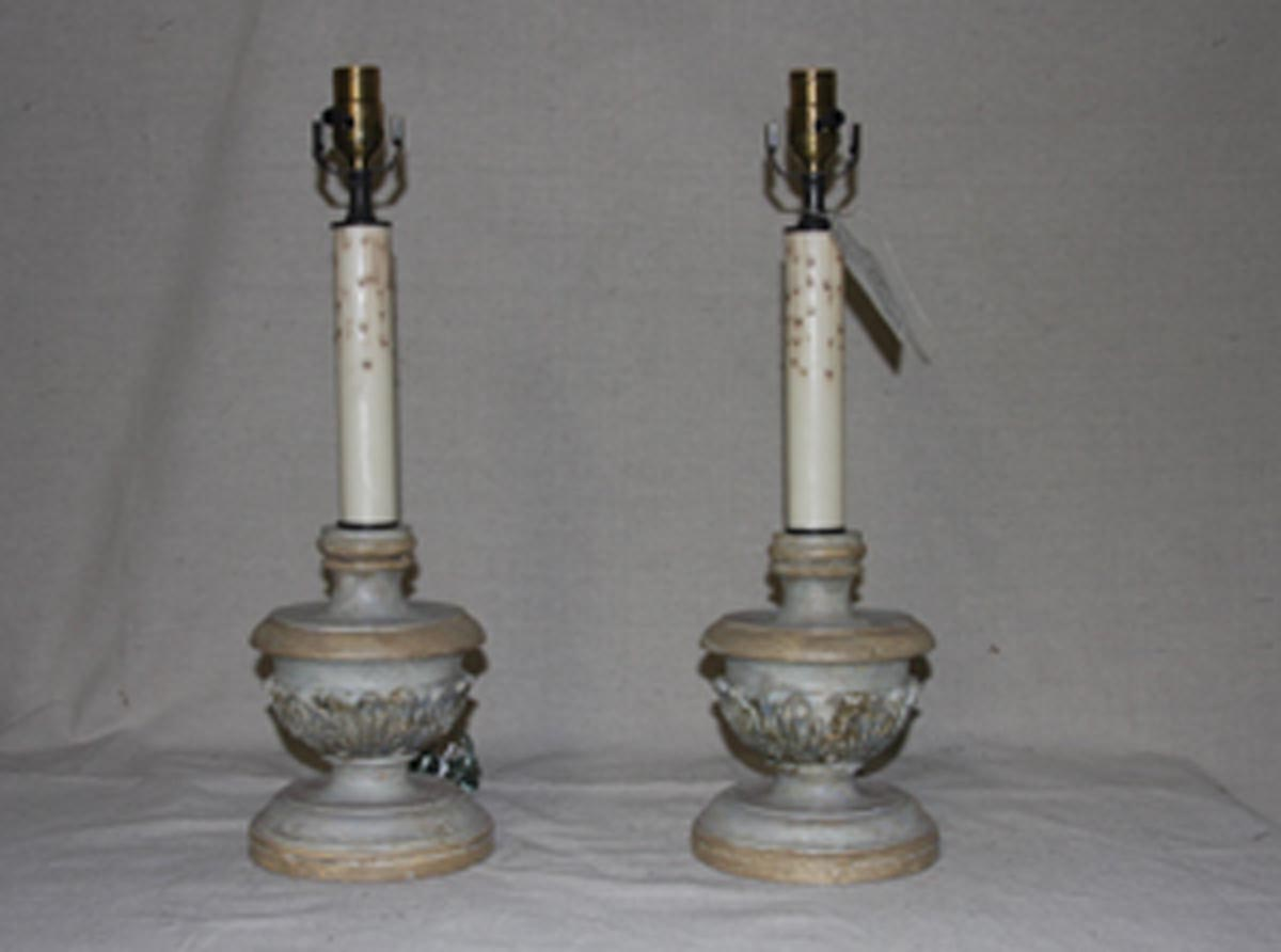 Pair Painted Candlestick Table Lamps
