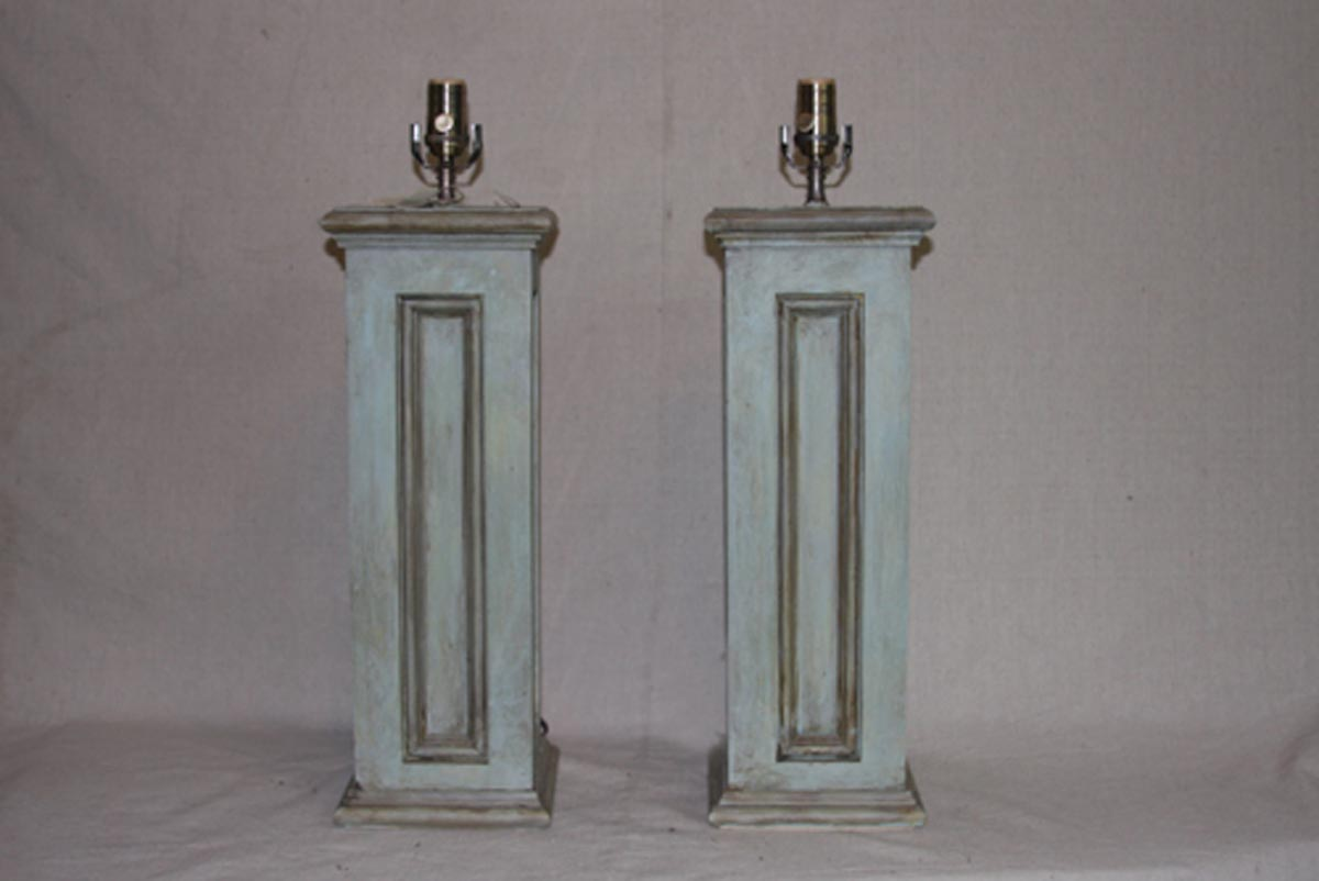 Pair of Painted Wood Table Lamps, Wired
