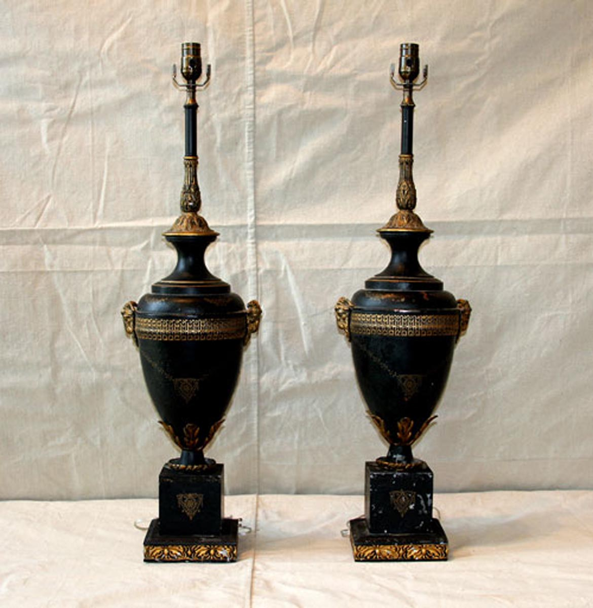 Pair of Black & Gold Tole Table Lamps