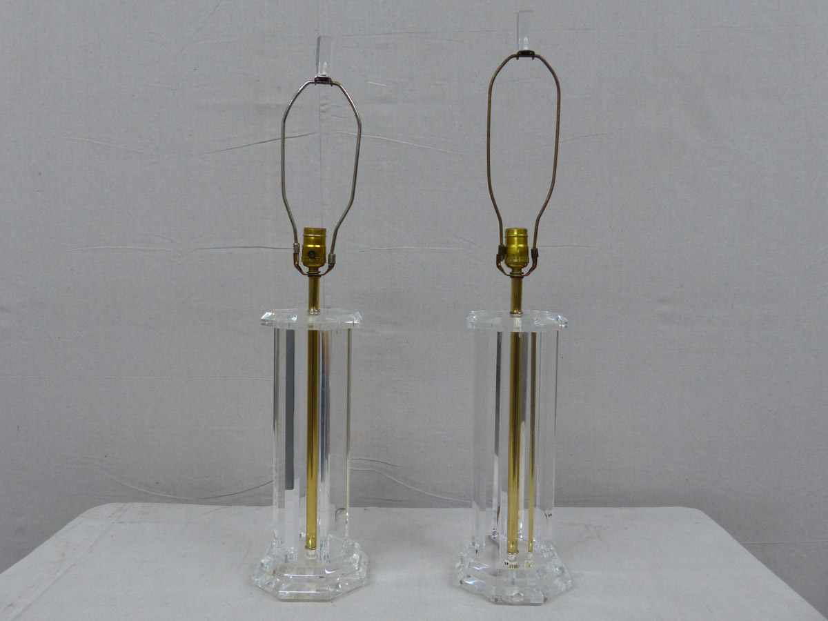 Pair of Mid 20th C. Lucite Table Lamps
