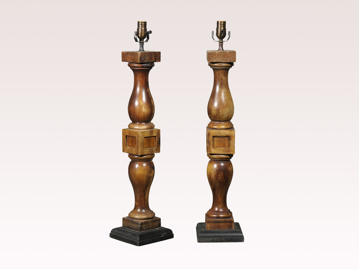 Pair of Brown Stained Table Lamps