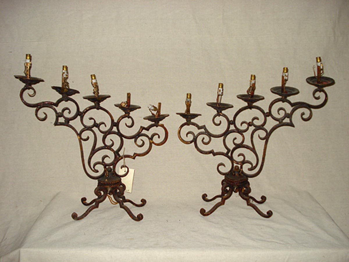 Pair Candelabra Table Lamps, France