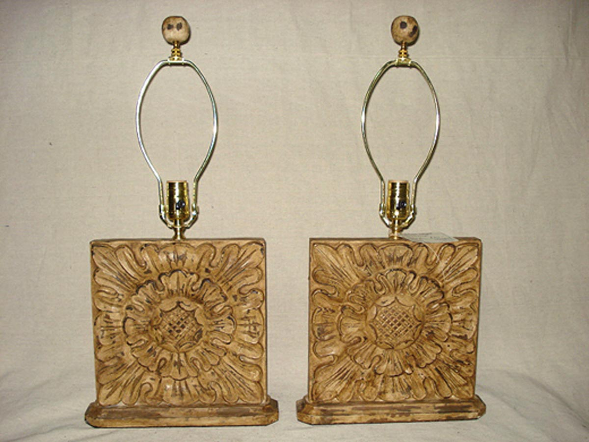 "Pair Carve Wood ""Sunflower"" Lamps"
