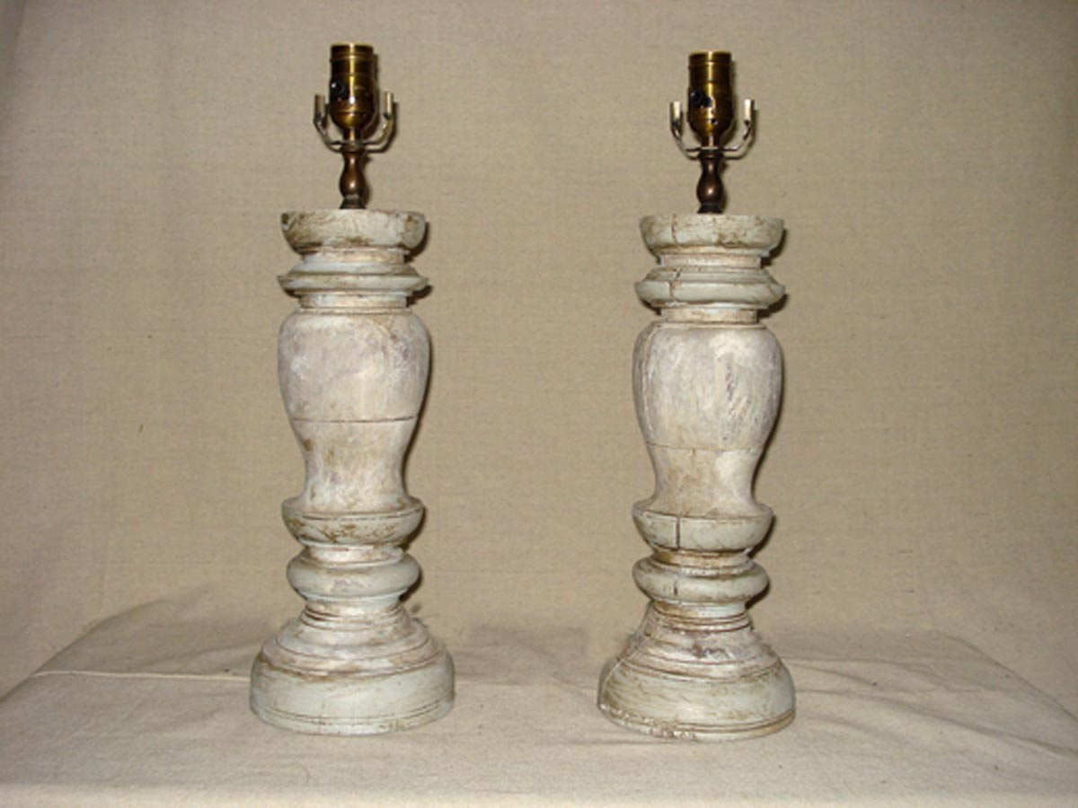 Pair of Wood Fragment Table Lamps